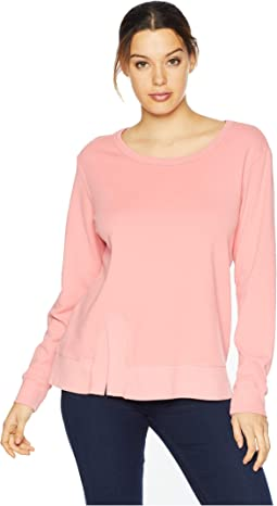 Cotton Interlock Sweatshirt with Asymmetrical Front Slit