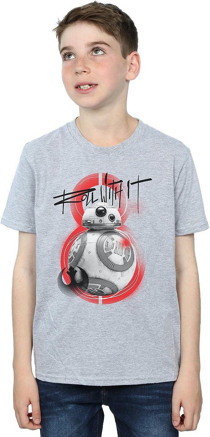 STAR WARS Boys The Last Jedi BB-8 Roll with It T-Shirt 5-6 Years Sport Grey