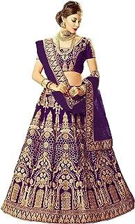 فستان Lehenga Choli النسائي ذو الحرير الأرجواني