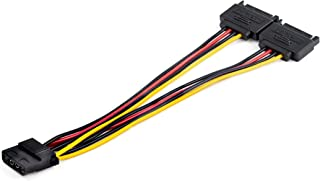 StarTech.com Dual SATA to LP4 Power Doubler Cable Adapter 2 SATA to 4 Pin LP4 Internal PC Peripheral Power Supply Connecto...
