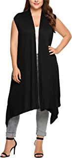 IN'VOLAND Womens Plus Size Sleeveless Cardigan Vest Long Duster Cardigan Open Front Asymetric Hem