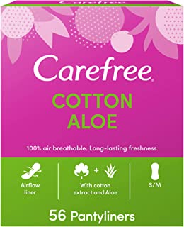 Carefree, Panty Liners, Cotton Aloe, Regular Size, Pack of 56