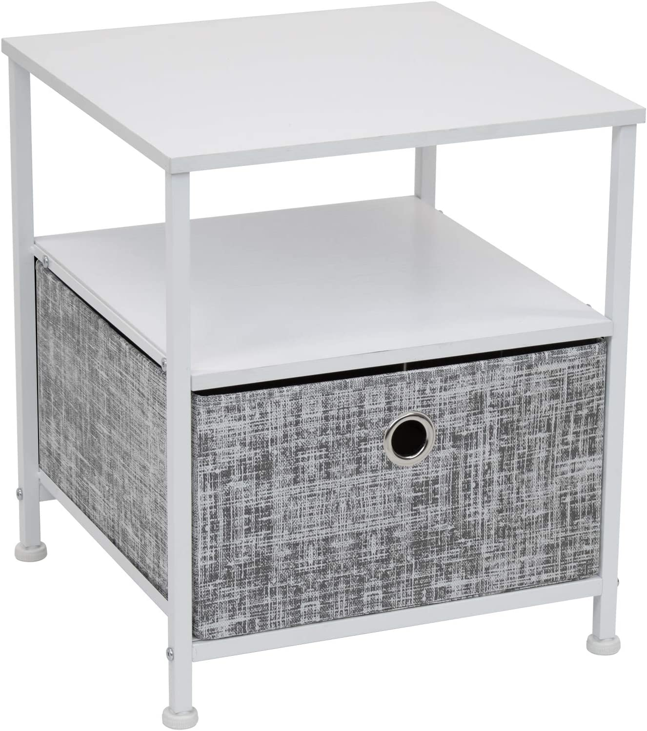 Sorbus Nightstand 1-Drawer Shelf Storage- Bedside Furniture & Accent End Table Chest for Home, Bedroom, Office, College Dorm, Steel Frame, Wood Top, Easy Pull Fabric Bins (Gray/White)
