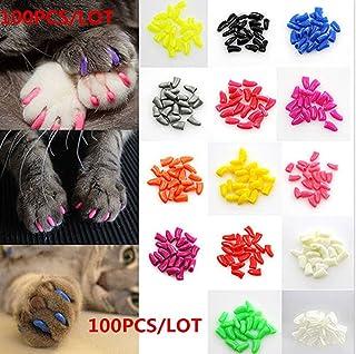 Brostown 100Pcs Cat Nail Caps Claws Soft Paws 5 Colors Adhesive Glues Applicators Instructions (M)