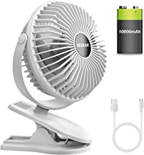 BESKAR 10000mAh Rechargeable Battery Operated Mini Clip Fan with 40 Hours(MAX) Sturdy Clamp 3 Speeds Fast Air Circulating ...