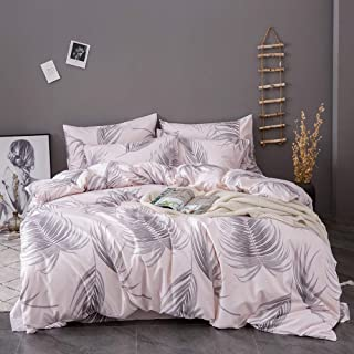 OSVINO Simple Style 100% Microfiber Botanical Pattern Bedding Quilt Comforter Duvet Cover Set with Pillow Shams, Pink, Queen