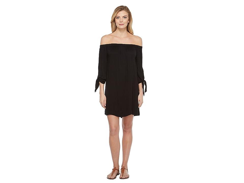 Michael Stars Romy Rayon Off Shoulder Tie Sleeve Dress (Black) Women