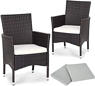 TANGKULA Set of 2 Patio Chairs, Outdoor Wicker Dining Chairs with Removable Cushions, Armchairs for Garden, Porch, Poolside, Balcony, with 2 Cushion Covers
