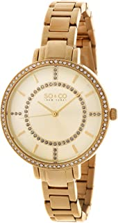 So & Co New York Soho Women's Quartz Watch With Gold Dial Analogue Display and Gold Stainless Steel Bracelet 5066.3