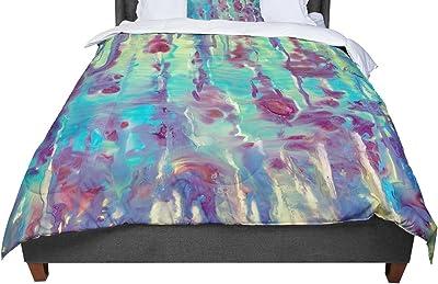 KESS InHouse Chickaprint Splatter Purple Teal Twin Comforter 68 X 88