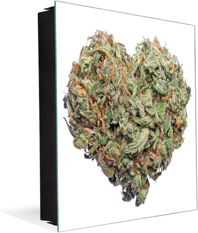 50 Keys Holder with Glass Magnetic Dry Erase Board K04 Heart Shape Cannabis Flower