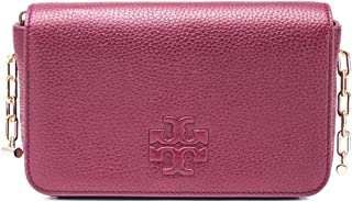 Tory Burch Leather Thea Mini Crossbody Handbag Burgundy