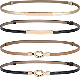 4 Pack Women Skinny Belts for Dress Gold Buckle Black Brown Leather Thin Belt