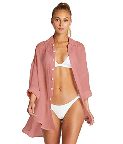 Vitamin A Playa Shirtdress Cover-Up (EcoLinen Gauze Sunkissed) Women