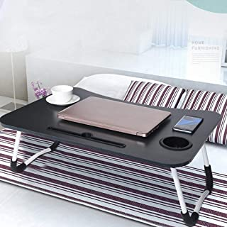 Voberry Foldable Laptop Table, Portable Standing Bed Desk, Breakfast Serving Bed Tray, Notebook Computer Stand Reading Holder for Couch Floor Lazy Laptop Table