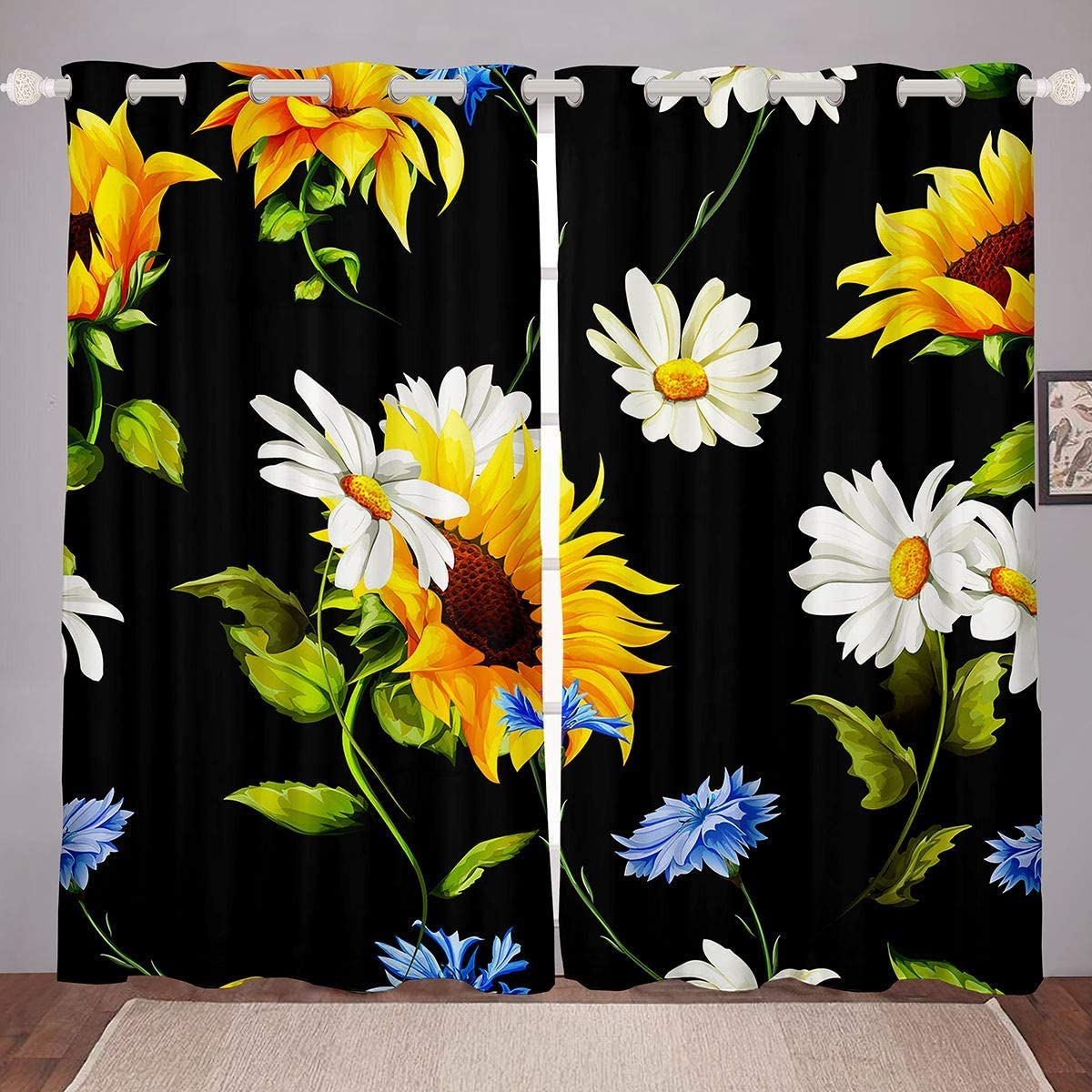 Floral Window Sunflower Daisy 1 year Mail order cheap warranty Colorful Decor Flo Curtains