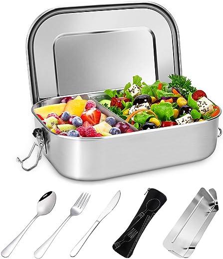 Gifort Premium Edelstahl Brotdose, Auslaufsichere Lunchbox mit Herausnehmbarer Trennwand Abtrennung, Besteck und Bestecktasche, BPA- &…