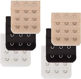 Bra Extender 2 Hook Black - Pack of 6 Soft Back Bra Extender for Women 3 Colors