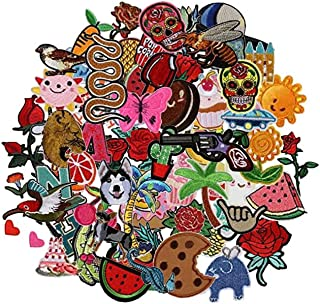 Hwafan Random Mix 30PCS Fashion Assorted Size Decal Fabric Iron On Patches Embroidered Motif Badge DIY Decoration Applique For Jeans Clothes
