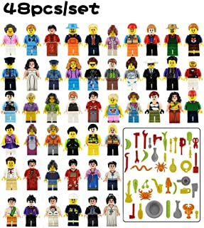 48PCS Education Pretend Play Dolls Set Career Staff Member Action Figure Set-Toy Figures For Kids  Cartoon Character Dolls Small Particles Building Blocks Assembled Toy Police Nurse Guitar