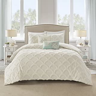 Harbor House Cannon Beach Duvet Cover King Size - Ivory , Mermaid Scale Tufted Chenille Duvet Cover Set – 3 Piece – 100% Cotton Light Weight Bed Comforter Covers