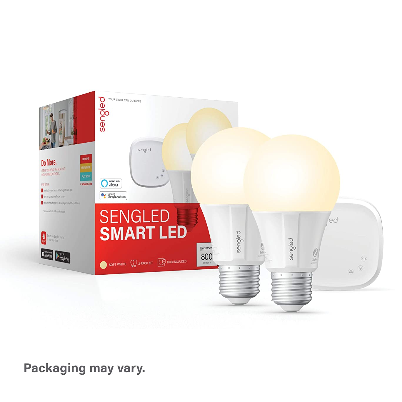 Sengled Smart LED Soft White A19 Starter Kit, 2700K 60W Equivalent, 2 Light Bulbs & Hub, Works with Alexa & Google Assistant