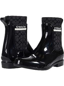 코치 부츠 COACH Rivington Rain Bootie,Black Rubber
