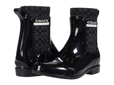 COACH Rivington Rain Bootie (Black Rubber) Women