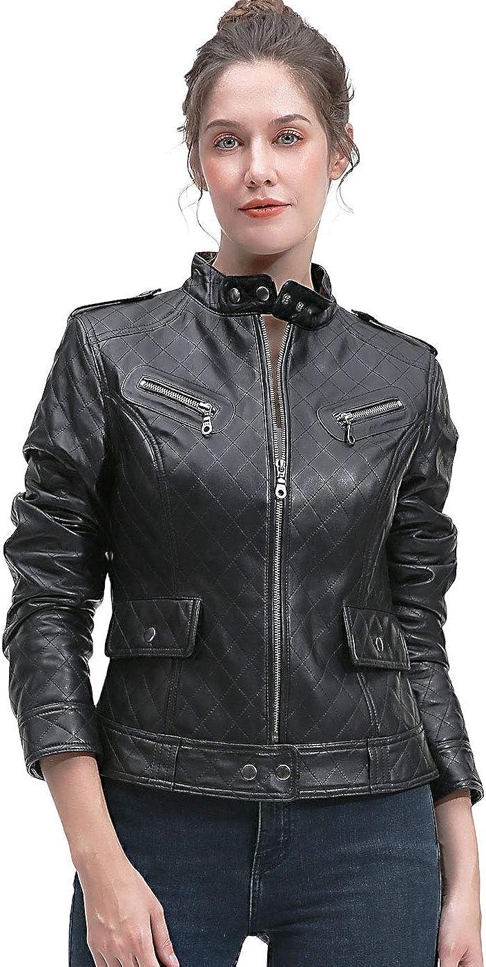 BGSD Women's Quilted New Zealand Lambskin Leather Jacket (Regular & Plus Size & Petite)