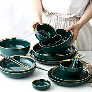 Dinner plate 1pc Green Ceramic Gold Plate Steak Food Inlay Plate Nordic Style Tableware Bowl Dessert Dish Dinner Dish Dinn...