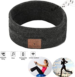 Bluetooth Headband Sleeping Headphones, Wireless Bluetooth Headset Unisex Sport Sweatband Headband Headphones, Built-in Speakers Microphone for Working Out, Exercising, Skating, Men, Women, Boys,Girls