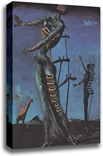 Canvas Print Wall Art - Flaming Giraffe - by Salvador Dali - Gallery Wrapped - 16x20 inch