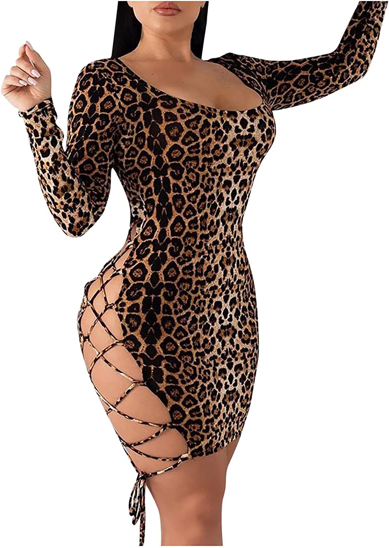 EseFGJK Women's Sexy Leopard Print Dress Open Back Long Sleeve Lace Up Hollow Up Cami Mini Bodycon Club Party Dress