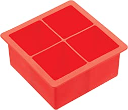 """BarCraft Large Silicone Ice Cube Tray, 11 x 11 x 4.5 cm (4.5"""" x 4.5"""" x 2"""") - Red"""