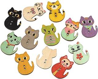 Pacote de 100 peças de botões de madeira com 2 furos em forma de gato aleatório misturado Souarts