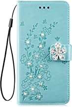 IKASEFU Shiny Rhinestone Emboss Plum blossom Floral Pu Leather Diamond Bling Wallet Strap Case with Card Holder Magnetic Flip Cover Case Compatible with Samsung Galaxy S9 Plus Green IKASEFU00011602