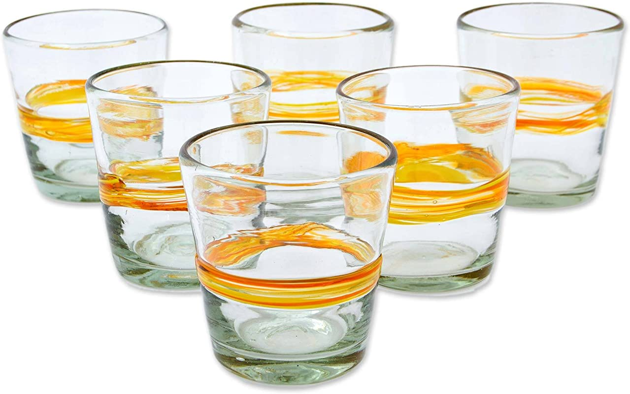 NOVICA Yellow Stripe Eco Friendly Hand Blown Tumbler Glasses 10 Oz Ribbon Of Sunshine Set Of 6
