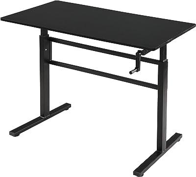 SDADI Crank Adjustable Height Standing Desk - Sit to Stand up Desk, Home Office Desk Computer Workstation, Black Frame/Black Top