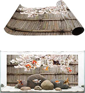 Fantasy Star Aquarium Background Bamboo Door and Cherry Blossom Fish Tank Wallpaper Easy to Apply and Remove PVC Sticker Pictures Poster Background Decoration