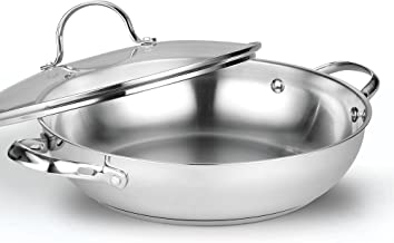 Cooks Standard 2502 12-inches/30cm Classic Stainless Steel Everyday Chef's Stir Fry Pan Silver