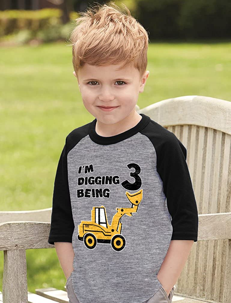 Tstars 3rd Birthday Shirt Construction Party Gift 3 Year Old Toddler Raglan Shirt