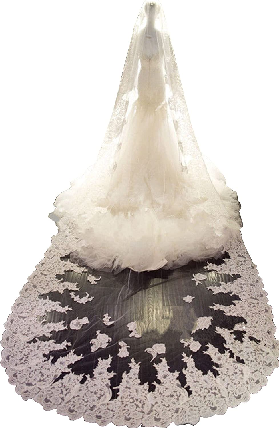 Newdeve White 4M 1T Wedding Dress Veils with Lace Edge Free Comb