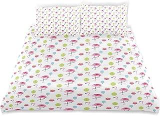 SINOVAL Decor Duvet Cover Set, Flamingo Summer Ice Cream Berry Print A Decorative 3 Pcs Bedding Set with Pillowcases, Queen/Full