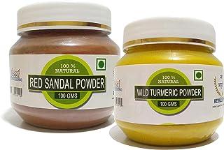 RAINTECH HERBALS Combo Of Herbal Face Pack - Red Sandalwood Powder 100gm and Wild Turmeric Powder, 100gm