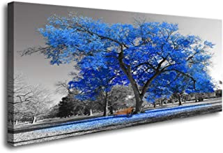 Canvas Wall Art Painting Contemporary Blue Tree in Black and White Wall Decor for Bedroom Style Fall Landscape Picture Modern Giclee Stretched and Framed Artwork(30inchx60inch)