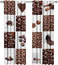 shenglv Kitchen, Curtains Door Window, Coffee with Roasted Beans Concept Collage Hearts Stars Espresso Latte Mugs Aroma, Curtains Kitchen, W72 x L84 Inch, Brown White