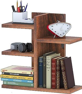 Klaxon Engineered Wood, Matt Finish Nick Book Shelf Bookcase Space | Book Organizer | Books Holder in Living Room Office (Walnut, Set of 1)