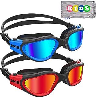 Kids Swim Goggles, OMID 2 Packs Comfortable Polarized Swimming Goggles Age 6-14
