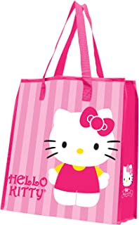 Vandor 18273 Hello Kitty Stripes Large Recycled Shopper Tote, Pink, White, Yellow, and Black