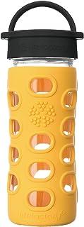 Lifefactory 12盎司(约340.20g)无BPA 玻璃杯 经典杯盖和保护性硅胶杯套  万寿菊色